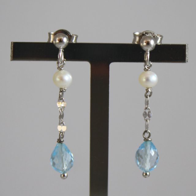 White Gold Earrings 750 18 CT. with White Pearls and drops of Topaz Blue