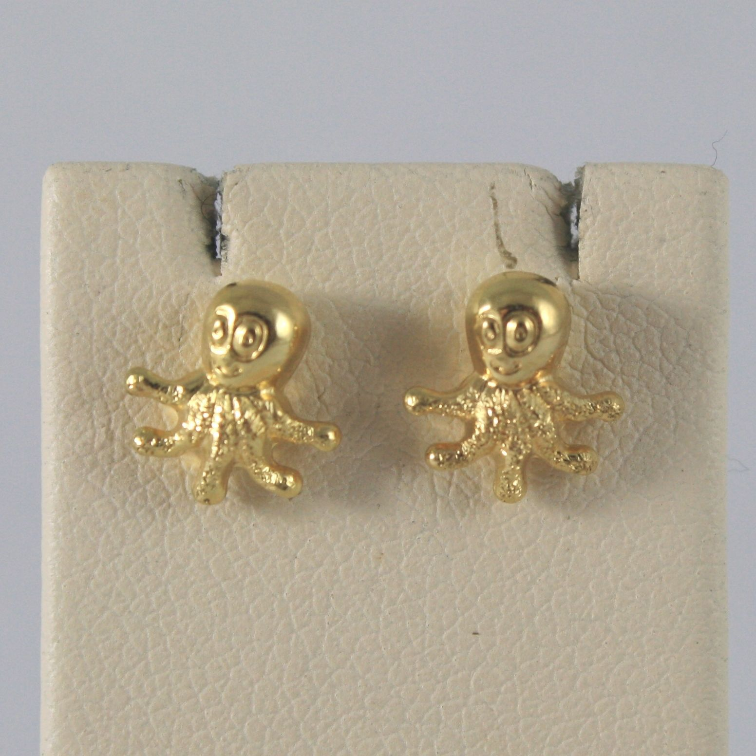 Yellow Gold Earrings 750 18k Stud, Octopus Shaped, polishes and Satin