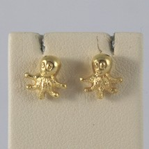 Yellow Gold Earrings 750 18k Stud, Octopus Shaped, polishes and Satin image 1