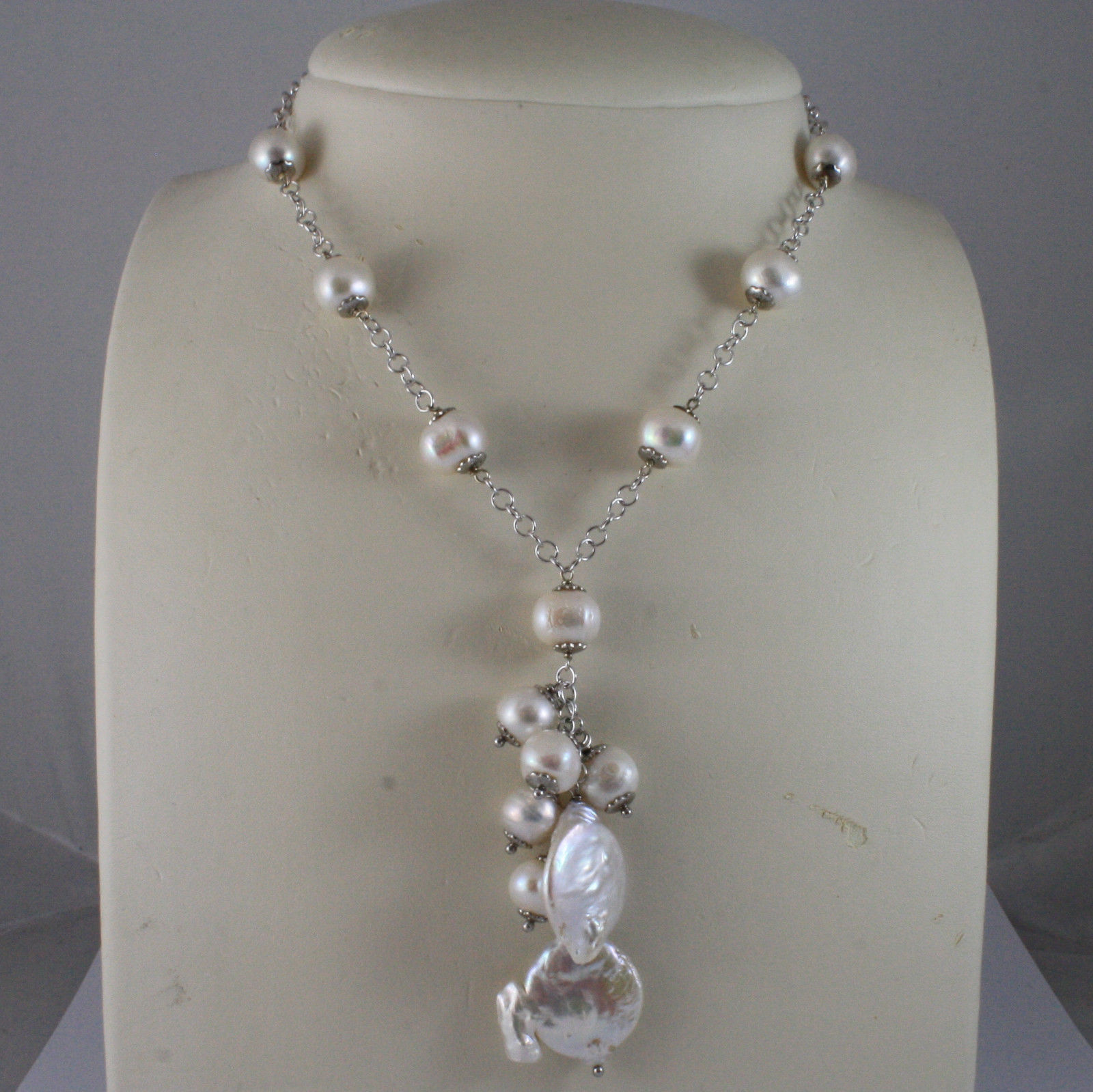 .925 SILVER RHODIUM NECKLACE WITH BAROQUE AND FRESHWATER WHITE PEARLS