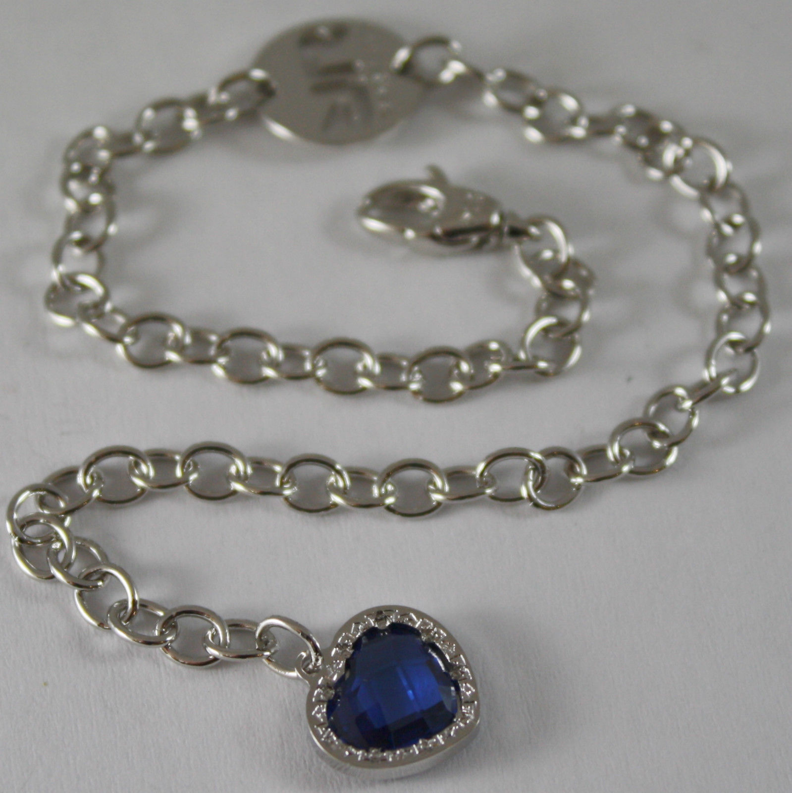 RHODIUM BRONZE BRACELET BLUE QUARTZ HEART,  B14BBT25, BY REBECCA MADE IN ITALY