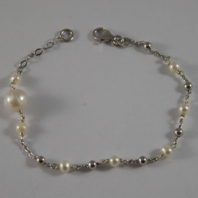 925 Silver Bangle with Pearls two measures and small balls silver