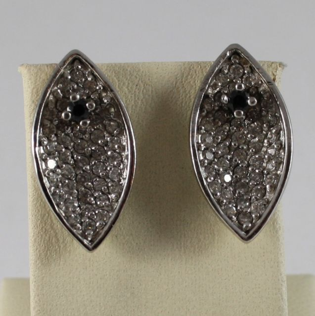 925 Silver Earrings Oval Shaped Cubic Zirconia Transparent and Black