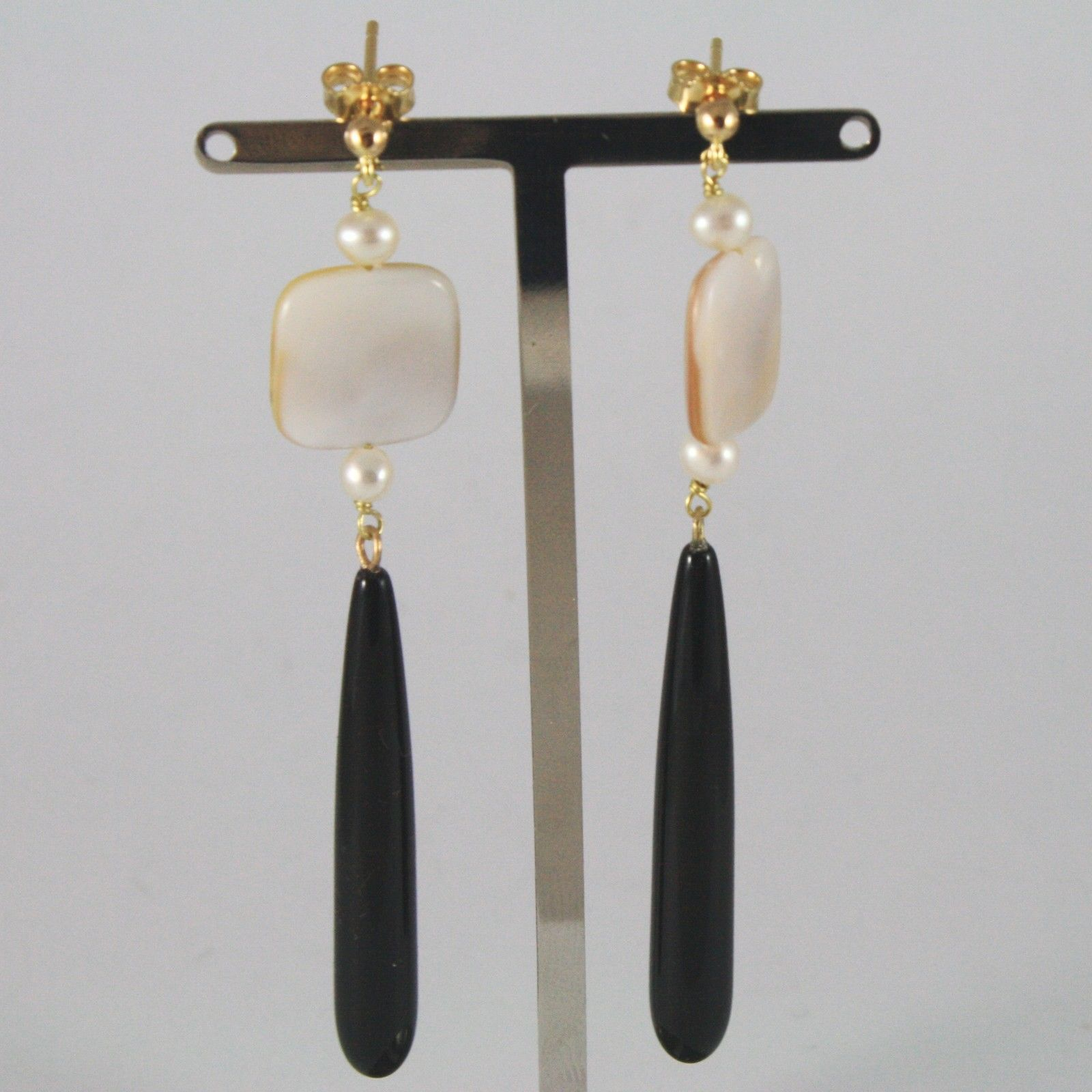 18K SOLID YELLOW GOLD EARRINGS WITH PEARLS MOTHER OF PEARL AND BLACK ONYX