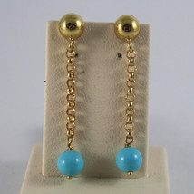 SOLID 18K YELLOW GOLD EARRINGS, WITH SPHERES OF BLUE TURQUOISE MADE IN ITALY