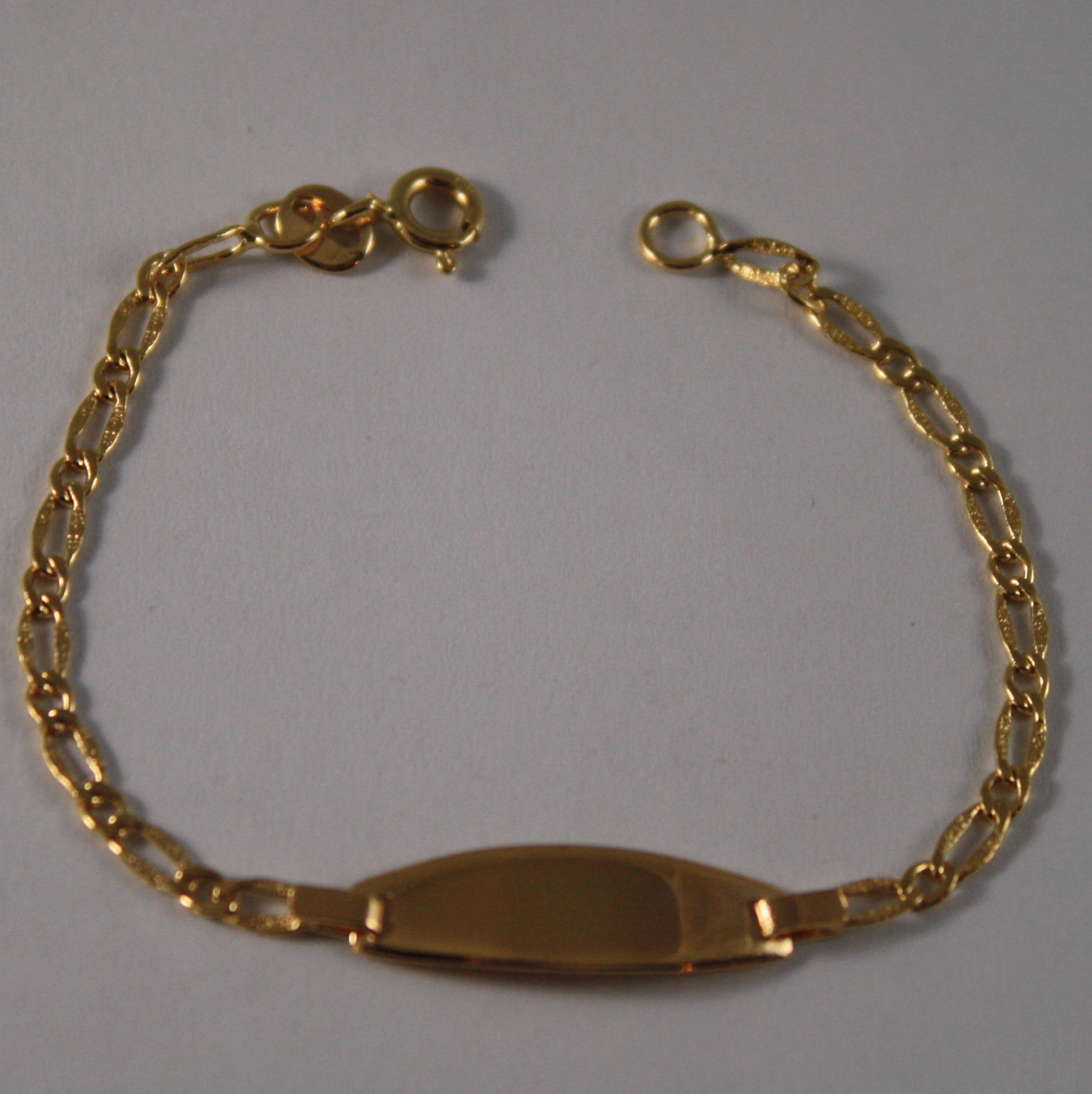 SOLID 18K YELLOW GOLD BRACELET, 5.51 INCHES ,SHINE, ENGRAVING PLATE, FOR CHILD.
