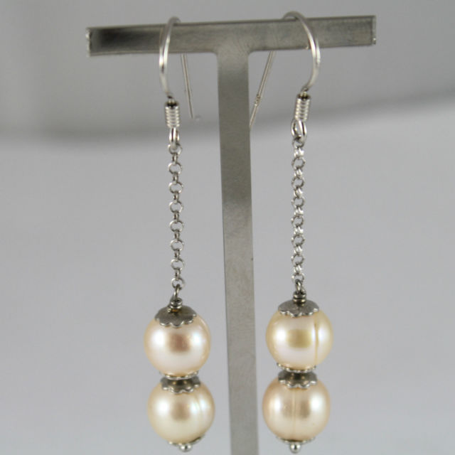 925 silver earrings pendants with pearls color peach