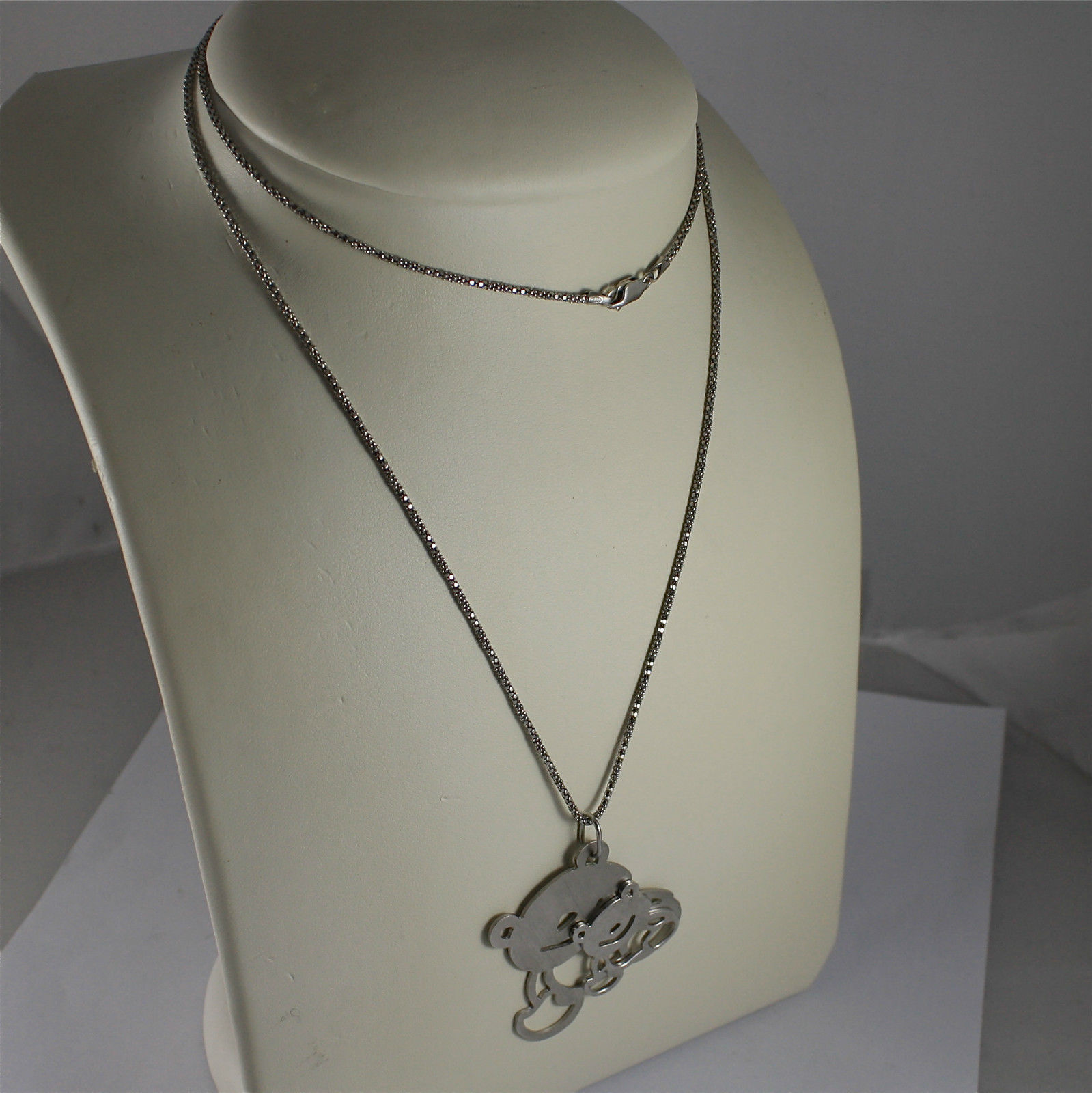 .925 RHODIUM SILVER NECKLACE, BASKET BRIGHT MESH, TWO CARE BEARS PENDANT.