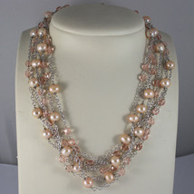 .925 RHODIUM SILVER MULTI STRAND NECKLACE WITH ROSE PEARLS AND PINK CRYSTALS