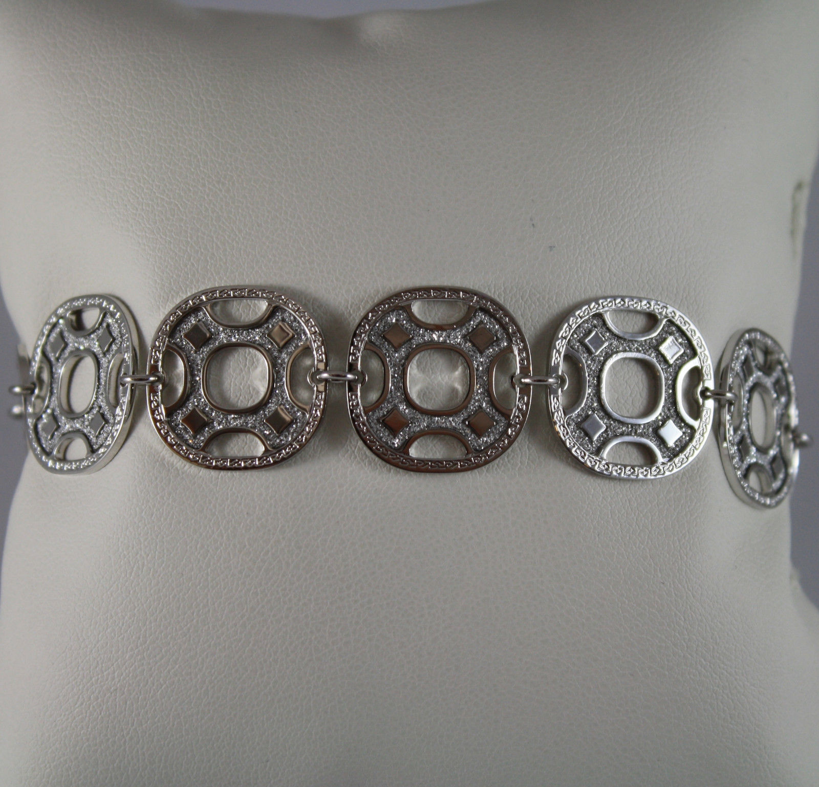 RHODIUM PLATED BRONZE REBECCA BRACELET WITH SQUARES B70BBB07 LENGTH 8,27 IN