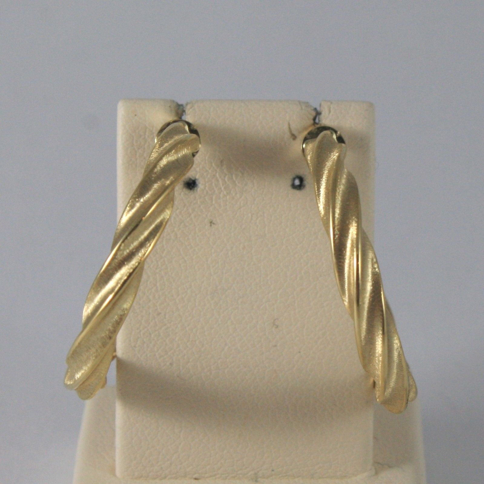 18K SOLID YELLOW GOLD EARRINGS WITH BRAID WORKED MADE IN ITALY 18KT
