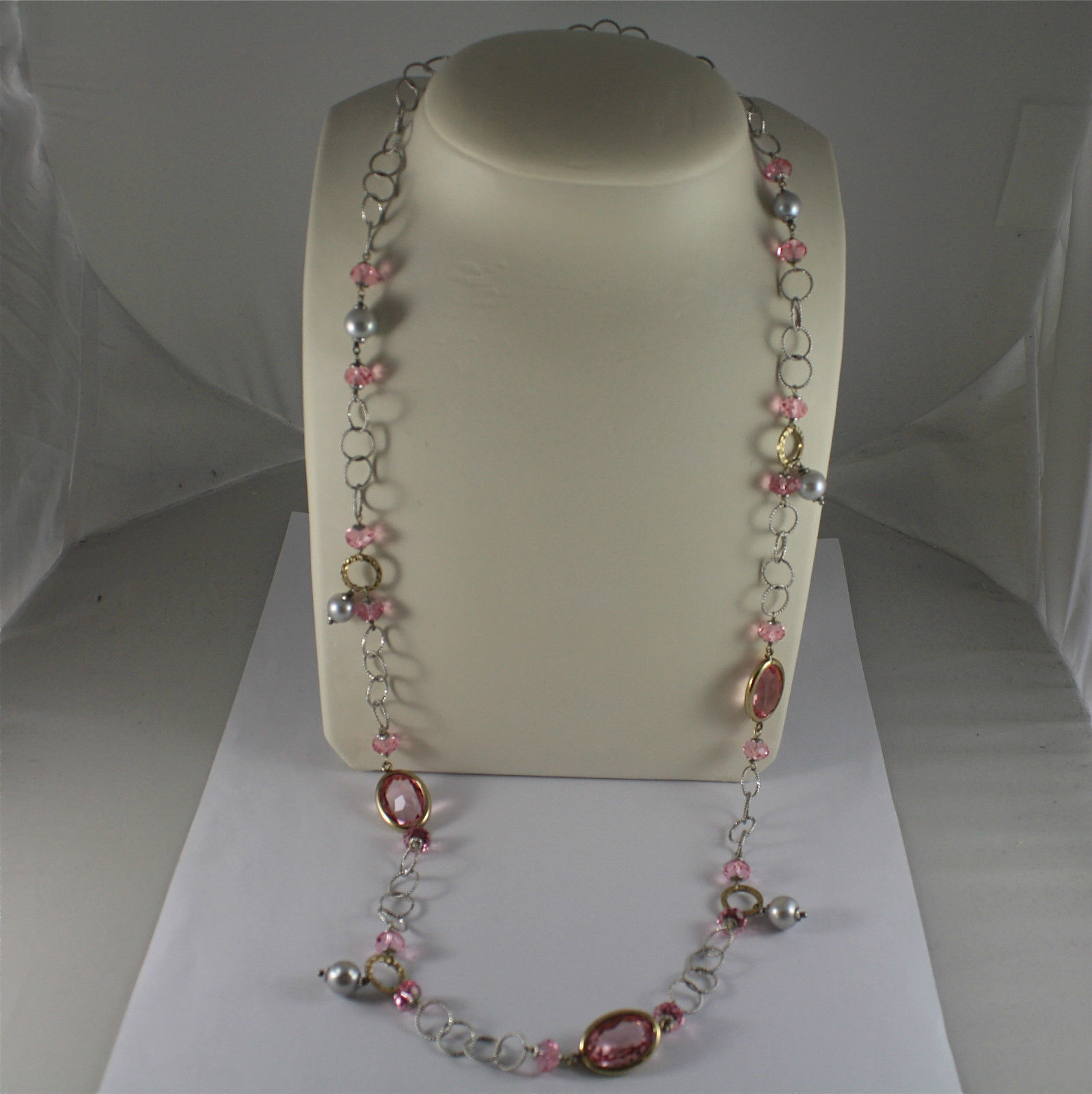 .925 SILVER RHODIUM NECKLACE, GOLD PLATED PARTS, PINK CRYSTALS, PEARLS, 31,5 In.