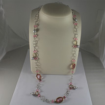 .925 SILVER RHODIUM NECKLACE, GOLD PLATED PARTS, PINK CRYSTALS, PEARLS, 31,5 In. image 1