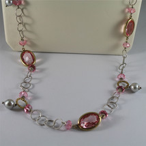 .925 SILVER RHODIUM NECKLACE, GOLD PLATED PARTS, PINK CRYSTALS, PEARLS, 31,5 In. image 2