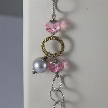 .925 SILVER RHODIUM NECKLACE, GOLD PLATED PARTS, PINK CRYSTALS, PEARLS, 31,5 In. image 4