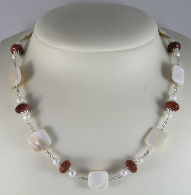 925 Silver Necklace with Mother of Pearl, White Pearls and Moonstone