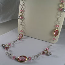 .925 SILVER RHODIUM NECKLACE, GOLD PLATED PARTS, PINK CRYSTALS, PEARLS, 31,5 In. image 5