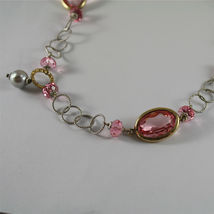 .925 SILVER RHODIUM NECKLACE, GOLD PLATED PARTS, PINK CRYSTALS, PEARLS, 31,5 In. image 6