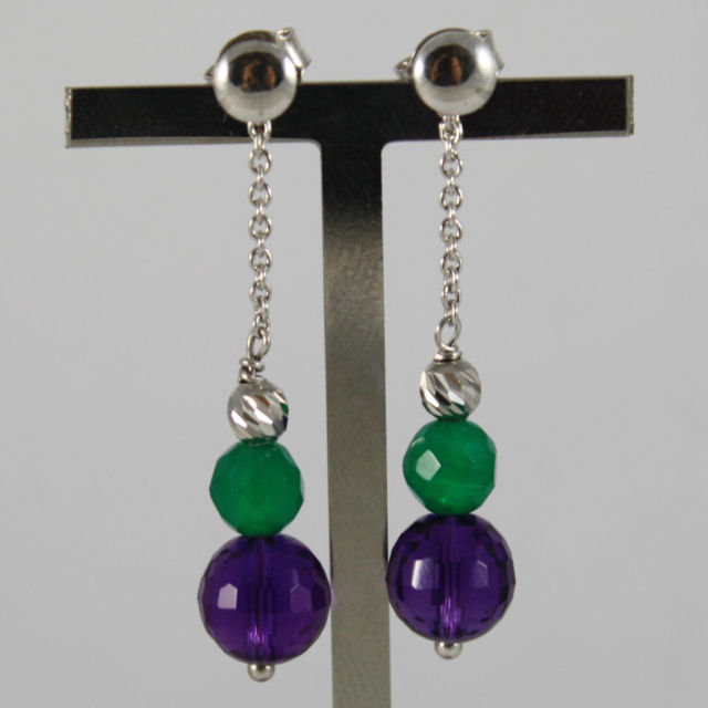 925 Silver Earrings with Green Chalcedony and Purple Crystal