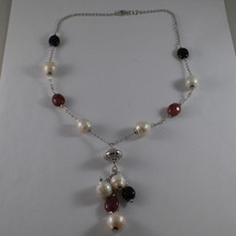 .925 SILVER RHODIUM NECKLACE WITH BAROQUE WHITE PEARLS AND TOURMALINES image 2