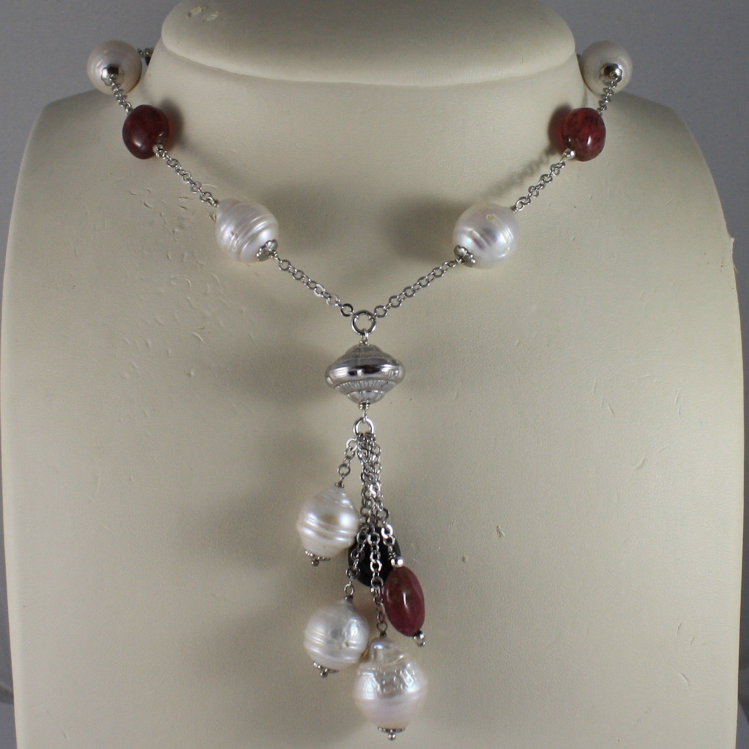 .925 SILVER RHODIUM NECKLACE WITH BAROQUE WHITE PEARLS AND TOURMALINES