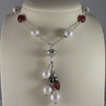 .925 SILVER RHODIUM NECKLACE WITH BAROQUE WHITE PEARLS AND TOURMALINES image 1
