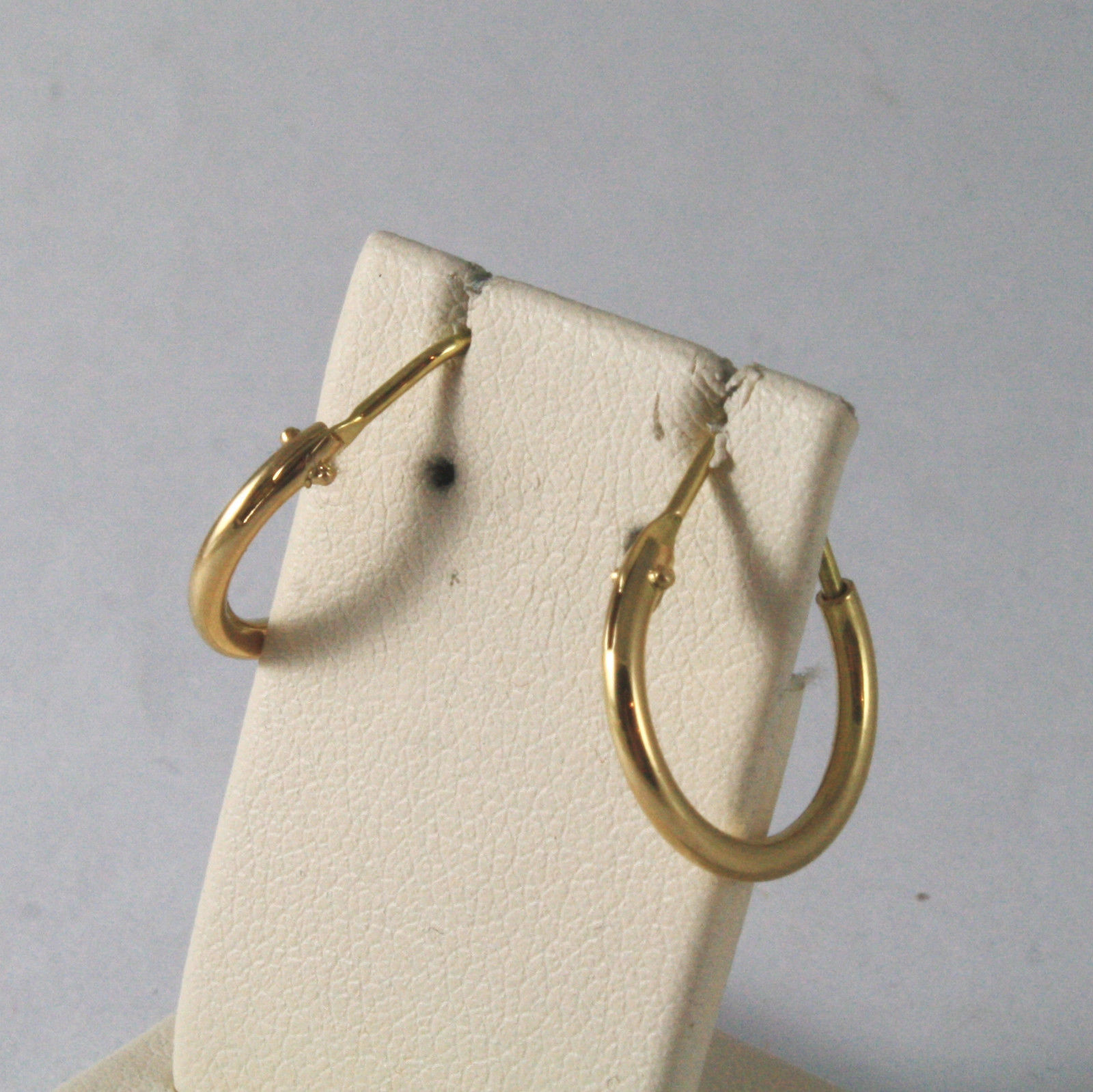 SOLID 18KT. YELLOW GOLD CIRCLE TUBE EARRINGS DIAMETER 0,55 IN MADE IN ITALY 18K