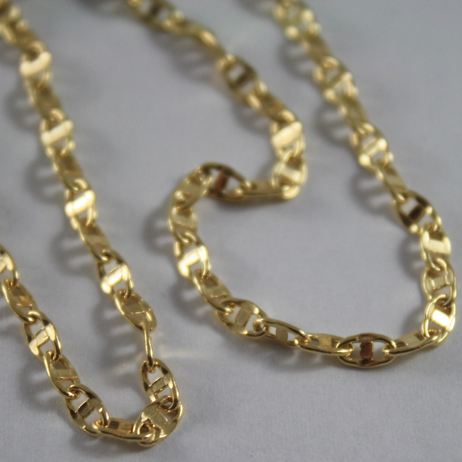SOLID 18K YELLOW GOLD CHAIN NECKLACE HAMMERED NAVY MESH 19.68 IN. MADE IN ITALY