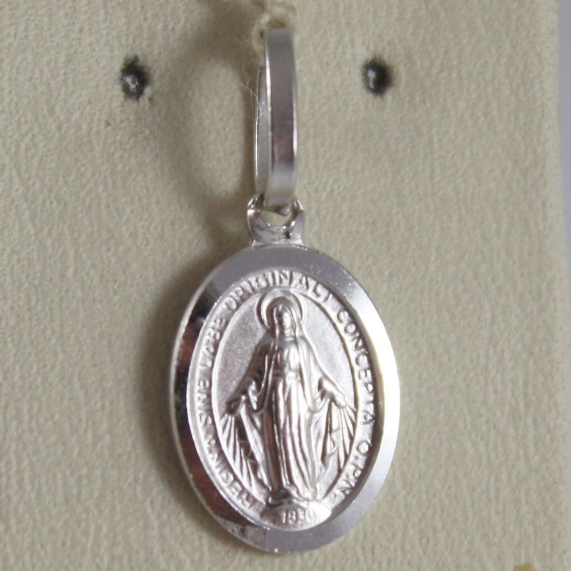 SOLID 18K WHITE GOLD MIRACULOUS MEDAL VIRGIN MARY, MADONNA 0.78 in MADE IN ITALY
