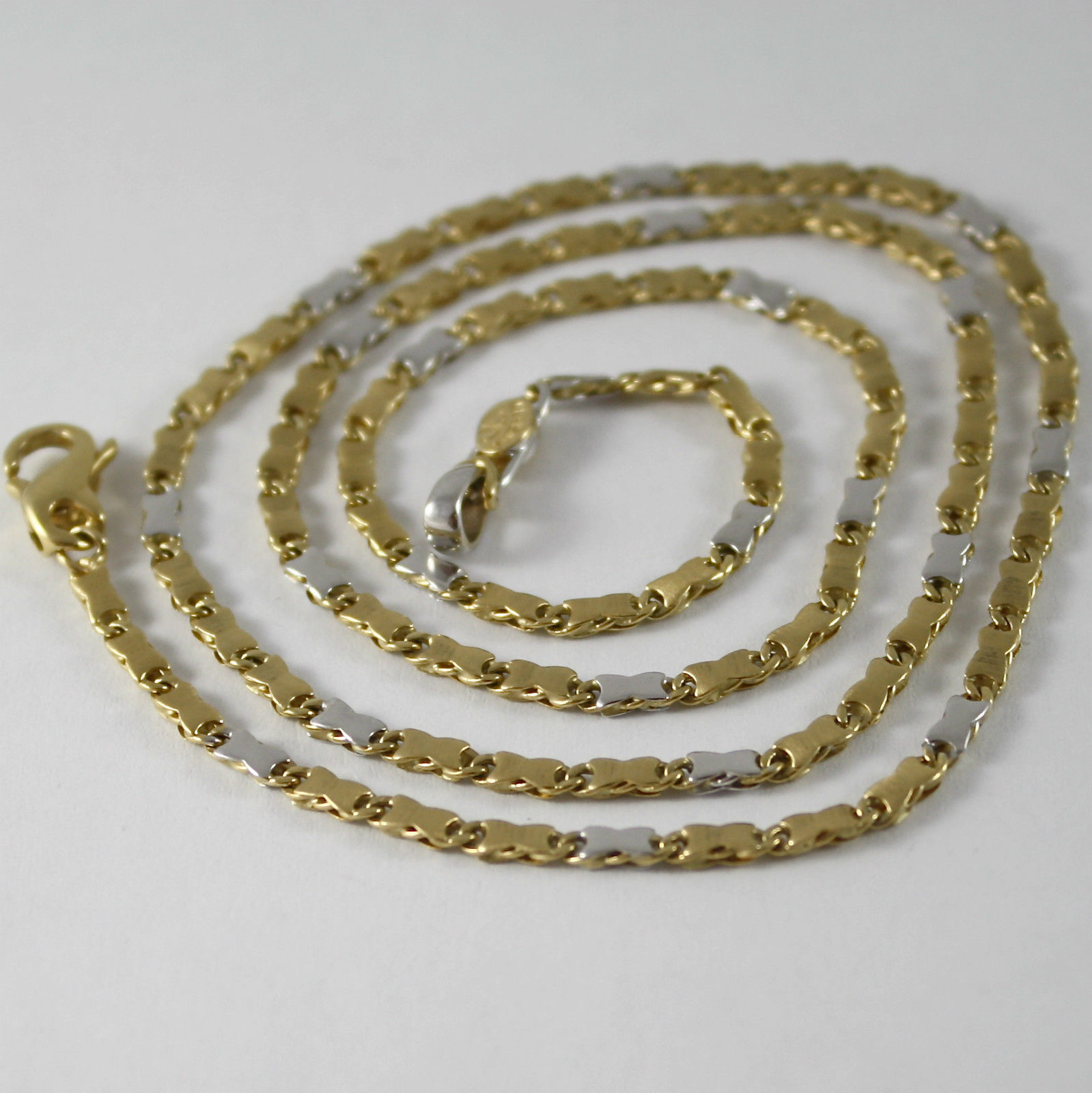 SOLID 18K YELLOW AND WHITE GOLD CHAIN NECKLACE, SATIN TUBE MESH, MADE IN ITALY