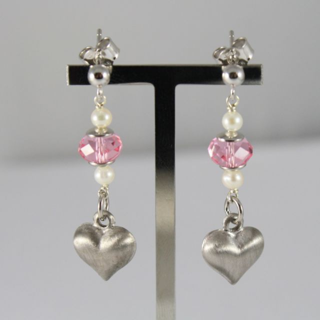 Earrings Silver 925 Pendants With Pearls, Crystals and Satin Heart