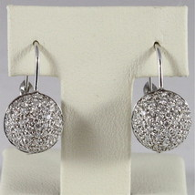 18K WHITE GOLD DIAMONDS BALL PENDANT EARRINGS, CT0.80, COLOR H, MADE IN ITALY