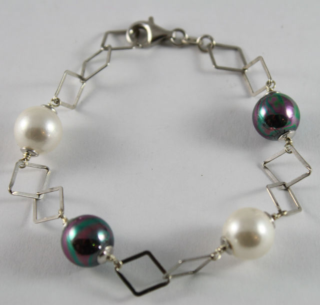 925 Silver Bangle with White Pearls and Pearls Grey Synthetic