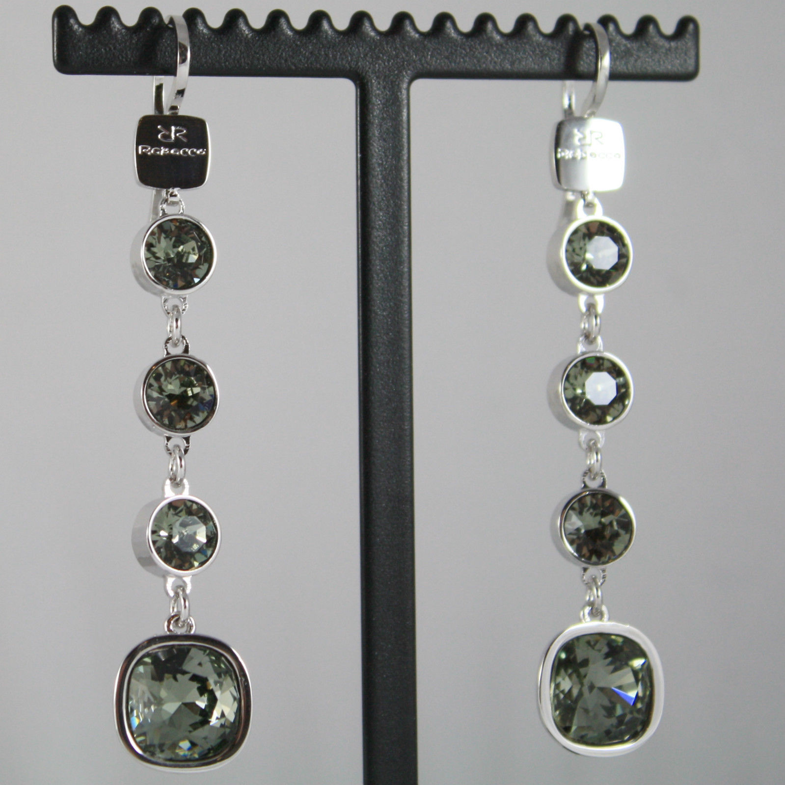 RHODIUM BRONZE REBECCA PENDANT EARRINGS WITH GRAY CRYSTAL CT 13.00 MADE IN ITALY