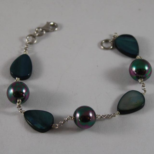 925 Silver Bangle with Blue Pearls Synthetic Pearl Blue