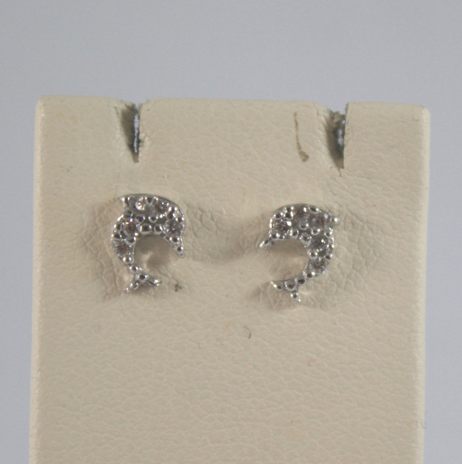 SOLID 18K WHITE GOLD EARRINGS, WITH LITTLE DOLPHIN WITH ZIRCONIA, MADE IN ITALY.