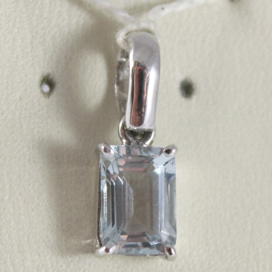 SOLID 18K WHITE GOLD PENDANT, AQUAMARINE CT 0.70 EMERALD CUT, MADE IN ITALY