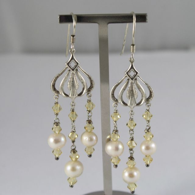 925 Silver Earrings Pendants with Yellow Crystals and White Pearls