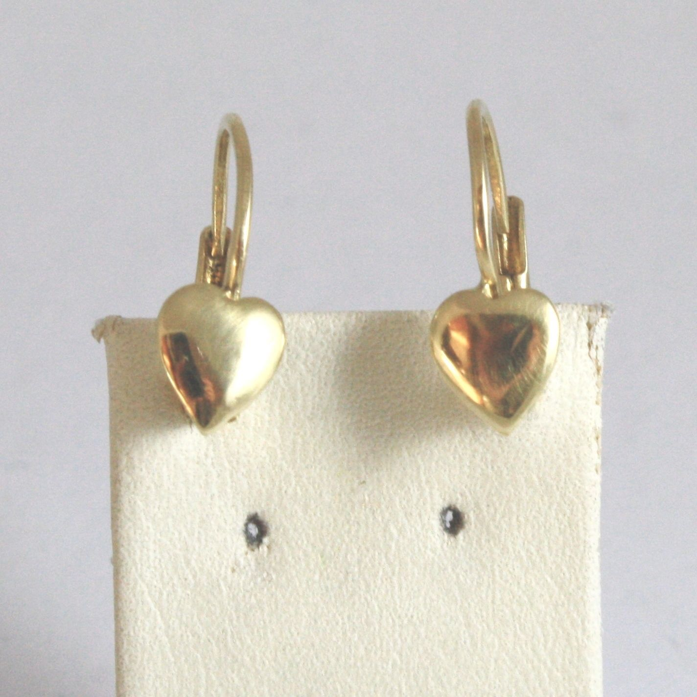 18K SOLID YELLOW GOLD PENDANT EARRINGS WITH PLATE HEART MADE IN ITALY 18K