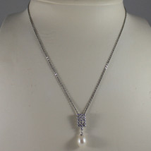 .925 SILVER RHODIUM NECKLACE WITH FRESHWATER WHITE PEARL AND SILVER RECTANGLE image 1