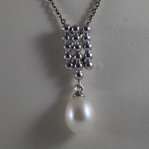 .925 SILVER RHODIUM NECKLACE WITH FRESHWATER WHITE PEARL AND SILVER RECTANGLE image 3