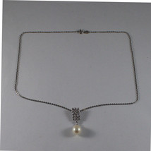 .925 SILVER RHODIUM NECKLACE WITH FRESHWATER WHITE PEARL AND SILVER RECTANGLE image 2