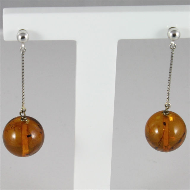 18K WHITE GOLD PENDANT EARRINGS WITH AMBER, MADE IN ITALY