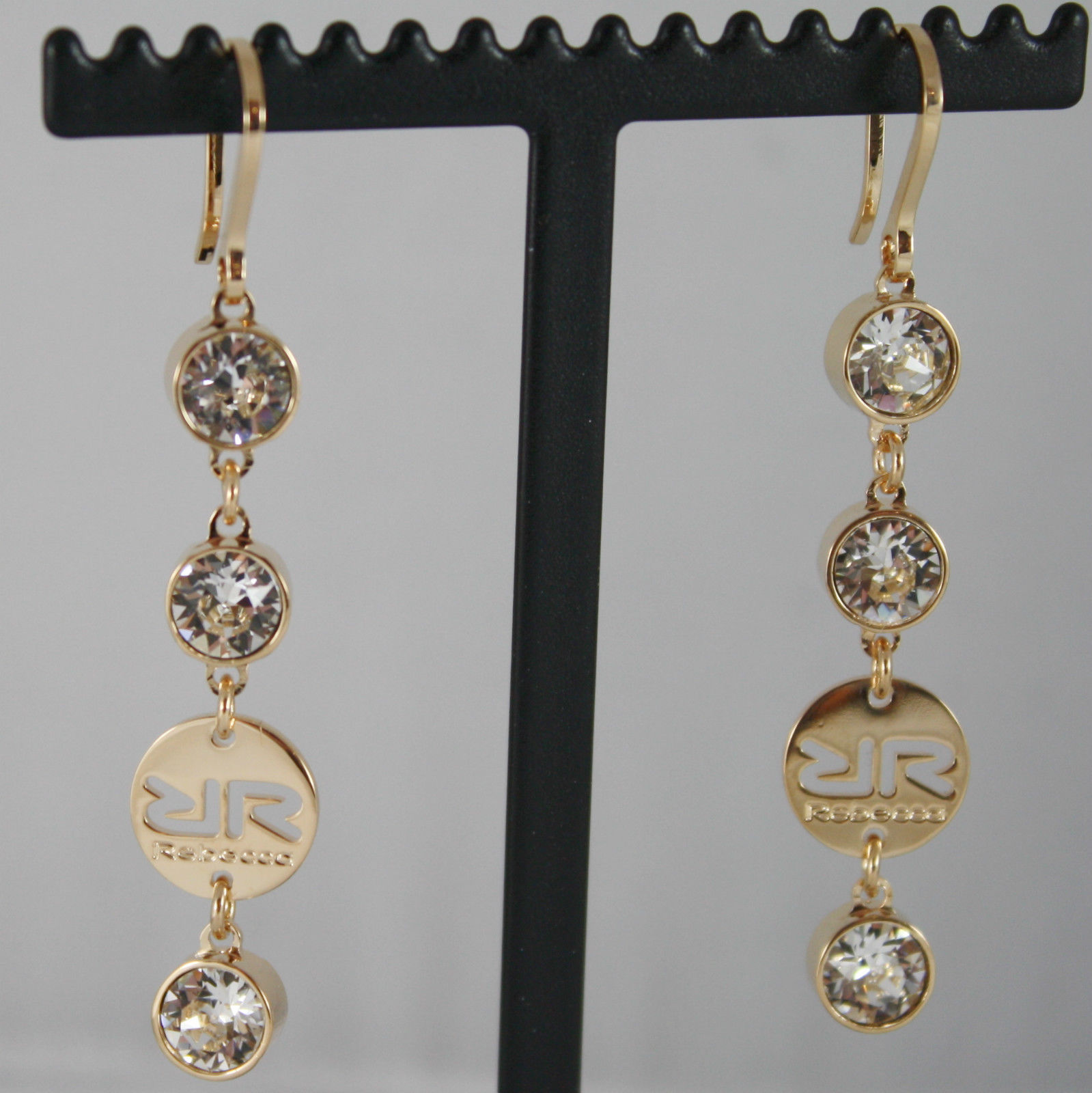 YELLOW BRONZE REBECCA PENDANT EARRINGS WITH WHITE CRYSTAL CT 6.00 MADE IN ITALY