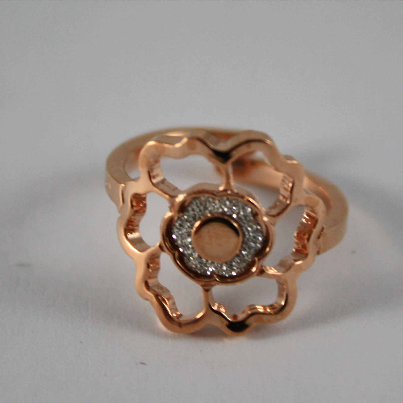 PINK GOLD PLATED BRONZE REBECCA RING WITH ROSE AND GLAM BPSARB01 ADJUSTABLE SIZE
