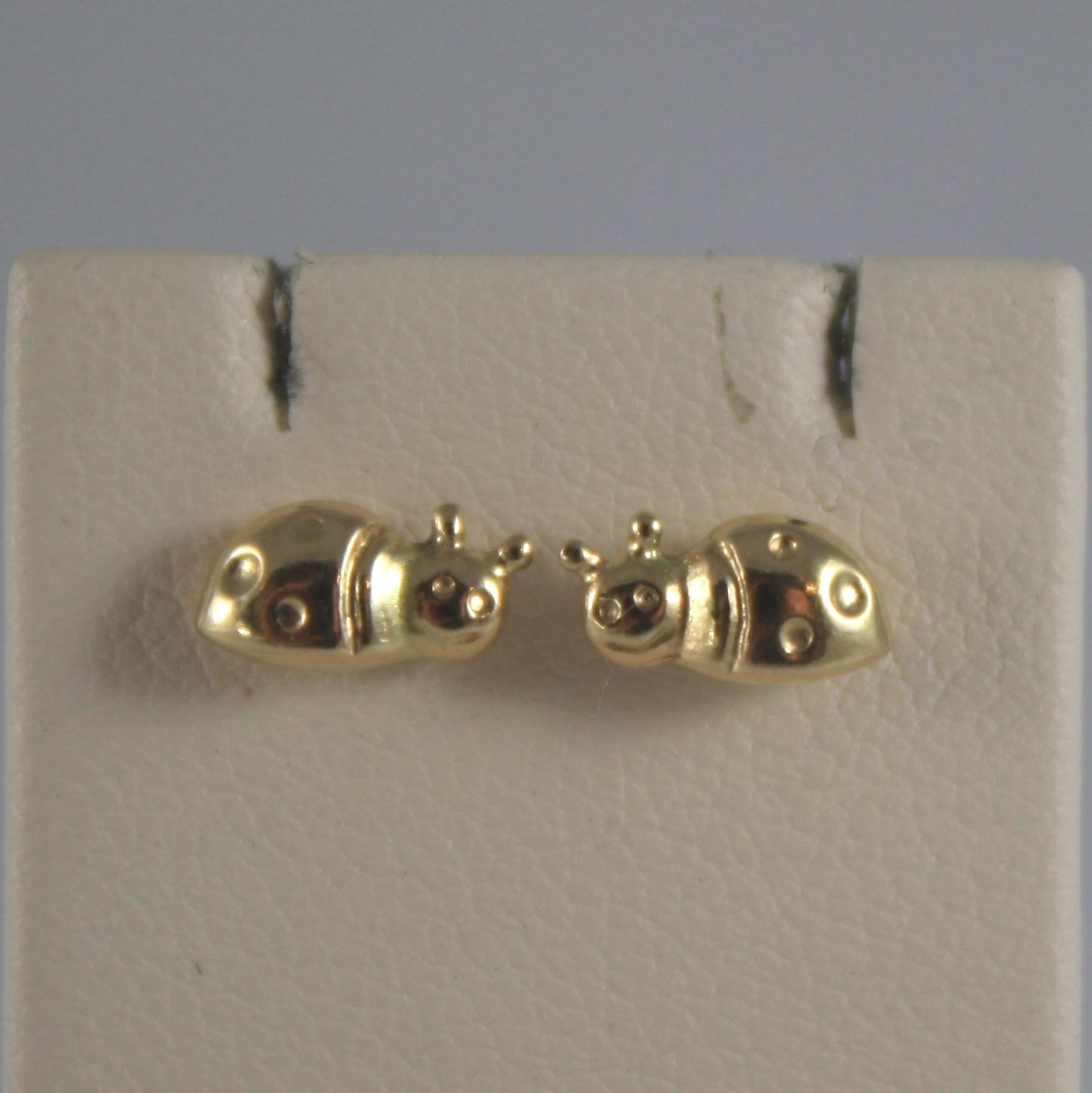 ORECCHINI IN ORO GIALLO 750 18 CT. A LOBO, A  COCCINELLA, LARGHI 7 MM