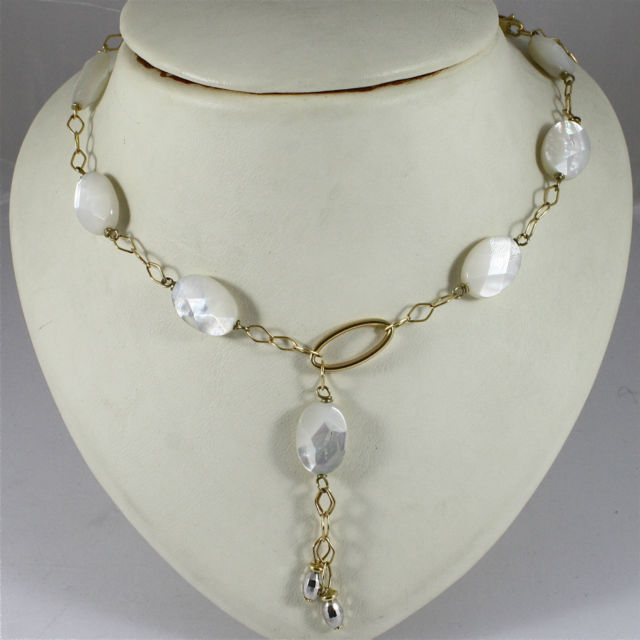 18K 750 YELLOW GOLD NECKLACE WITH OVAL MOTHER OF PEARL, MADE IN ITALY