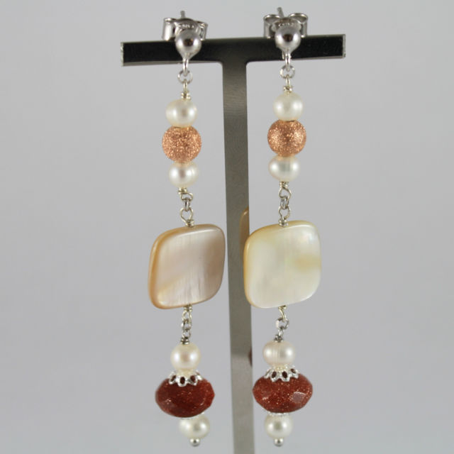 925 Silver Earrings with White Pearl, Mother of Pearl and moonstone