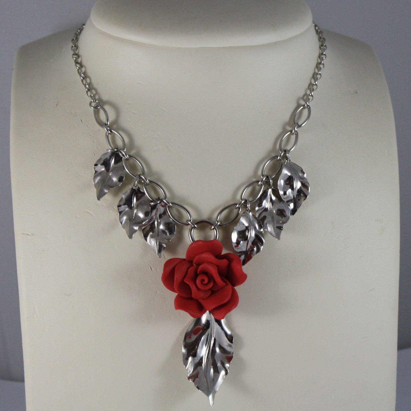 .925 RHODIUM SILVER NECKLACE WITH RED RESIN ROSE AND LEAVES