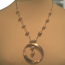 .925 SILVER RHODIUM NECKLACE WITH 10 MM FRESHWATER WHITE PEARLS, 19.69 IN LENGHT image 2